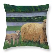 Sping Lambs Throw Pillow