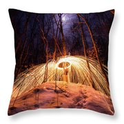 Spinning Steel Wool In Snow Throw Pillow