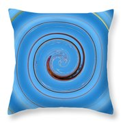 Have A Closer Look. Spiral Art With Light And Dark Blue Embossing Effect.  Throw Pillow