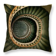Spiral Staircase  In Green And Yellow Throw Pillow