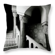 Spiral Stairs- Black And White Photo By Linda Woods Throw Pillow