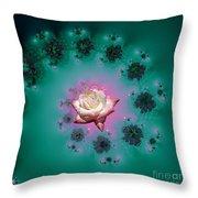 Spiral To A Rose Fractal 140 Throw Pillow
