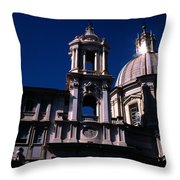 Spire And Cupola St Agnese In Agone Piazza Navona Rome Italy Throw Pillow