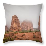 Spires In The Mist Throw Pillow