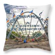Spirit Of Oklahoma Plaza  Throw Pillow