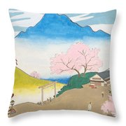 Spirit Of Shinto And Ukiyo-e In The Light Of Nature Throw Pillow