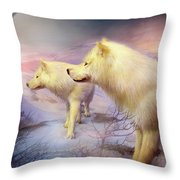 Spirit Of The White Wolf Throw Pillow
