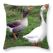 Spirited Geese Throw Pillow