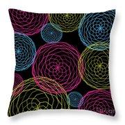 Spiro Blooms In Noir Throw Pillow