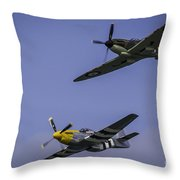 Spitfire And Mustang Throw Pillow