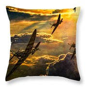 Spitfire Attack Throw Pillow by Chris Lord