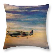 Spitfire In Flight Throw Pillow by Liam O Conaire