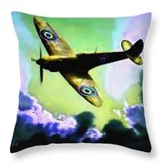 Spitfire In The Clouds H B Throw Pillow