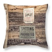 Spitting Prohibited Throw Pillow