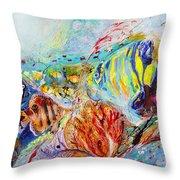 Splash Of Life #14 Red Sea  Throw Pillow