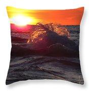 Splash - Sunset On Lake Huron Throw Pillow
