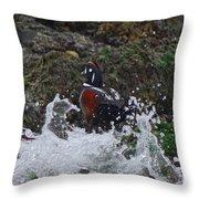 Splashed At Haystack Rock Throw Pillow