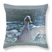 Splashing Duck Throw Pillow
