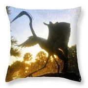 Splashing Heron Throw Pillow