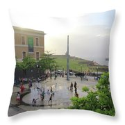 Splashing In Old San Juan Throw Pillow