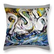 Splashing Swans Throw Pillow