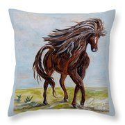 Splashing The Light - A Young Horse Throw Pillow