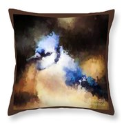 Splatter Art - Blue Jay Throw Pillow