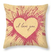 Splattered Love Throw Pillow