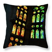 Splendid Stained Glass Windows Throw Pillow