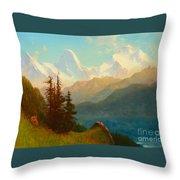 Splendor Of The Grand Tetons - Wyoming Territory Throw Pillow