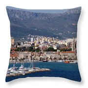 Split Croatia's Waterfront Throw Pillow