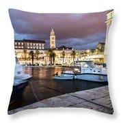 Split Harbor Night View In Croatia Throw Pillow