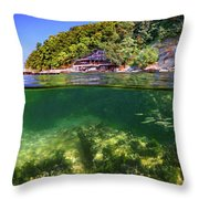 Split Level Reef And Trees With Pier Throw Pillow