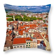 Split Old City Center Aerial View Throw Pillow