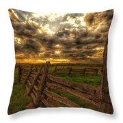 Split Rail Cedar Fence Sunset Throw Pillow