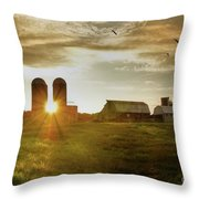 Split Silo Sunset Throw Pillow