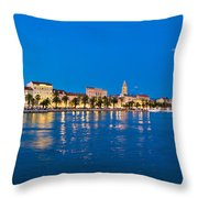 Split Waterfront Blue Hour View Throw Pillow