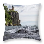 Splitrock Lighthouse 8-4-17 Throw Pillow