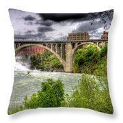 Spokane Falls And Monroe Bridge Throw Pillow