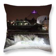 Spokane Falls Night Scene Throw Pillow