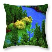 Spokane River Blues Throw Pillow