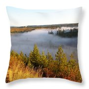 Spokane River Under A Misty Morning Blanket Throw Pillow
