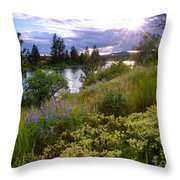 Spokane River Wildflowers Throw Pillow