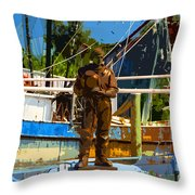 Sponge Diver Throw Pillow