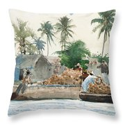 Sponge Fisherman In The Bahama Throw Pillow by Winslow Homer