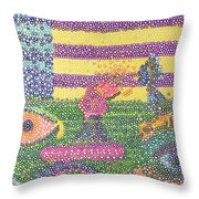 Spooky Eyes In The Field  Throw Pillow