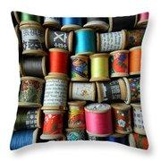 Spools Throw Pillow by Jen Hardwick