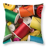 Spools Of Thread With Buttons Throw Pillow