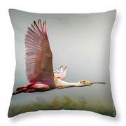Spoonbill In Foggy Bayou Throw Pillow