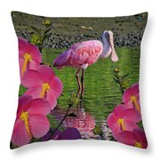 Spoonbill Through The Flowers Throw Pillow